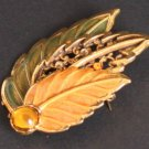 Vintage Signed KC Leaf Fall Color Pin/Brooch