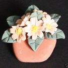 Vintage Blooming  Pink Flower Pot Pin/Brooch1940s