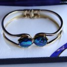 Vintage Paua Shell Gold Plated Clamper Bracelet Ariki
