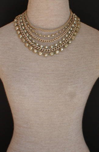 Vintage Multi Strands Gray Glass Baroque Pearl Necklace