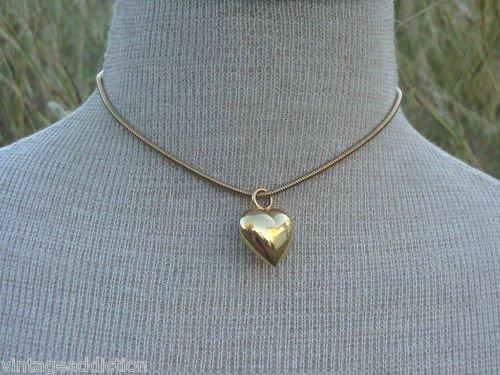 Vintage Gold Hear Shape Pendant Necklace