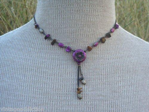 Vintage Purple Agate Stone Cute Necklace