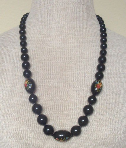 Vintage Black Flower Hand Painted Chunky Beads Necklace