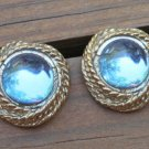 Vintage Blue Glass Chunky Pierced Earrings 1980s