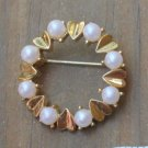 Lovely Vintage  White Pearl & Golden Leaves Pin Brooch
