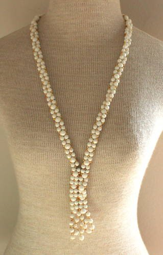 "Lovely Vintage White Lariat Long  Necklace 36"" 1980"