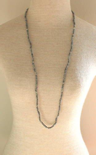 "Vintage Gray Stone Long Strand Necklace 34"""