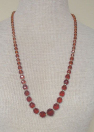 Vintage Faceted Brown Glass Necklace 1950s