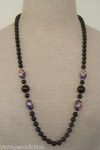 Vintage Black  Art Glass Hand Painted Bead Necklace