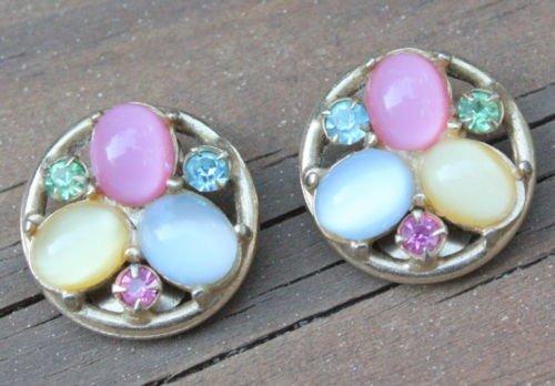 VintageMulti Color Glass Rhinestone Earrings