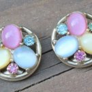 VintageMulti Color Glass Rhinestone Earrings