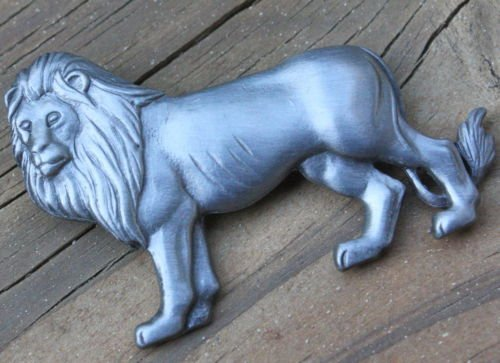 Unique Vintage Pewter Lion Pin/ Brooch
