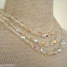 Vintage White  Aurora Borealis Crystal Glass  Necklace
