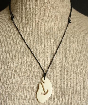Vintage Carved Cow Bone Necklace Pendant