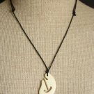 Vintage Carved Cow Bone Necklace Pendant