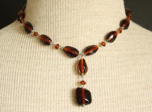 Vintage Brown Glass Bracelet Necklace Parure Set