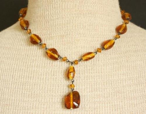 Vintage Brown Glass Bead Necklace Pretty!