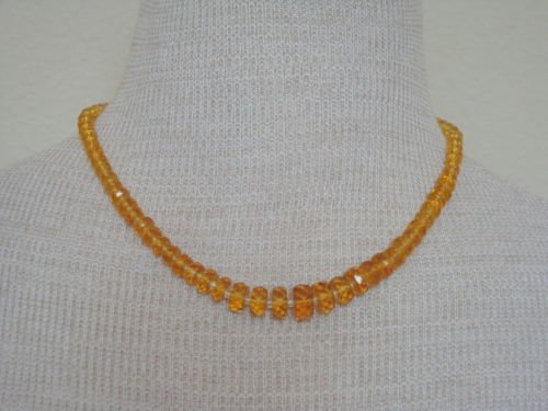 Vintage Yellow Amber Glass Necklace 1950s