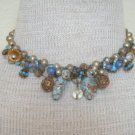 Vintage Blue Tone Art Glass Choker Necklace