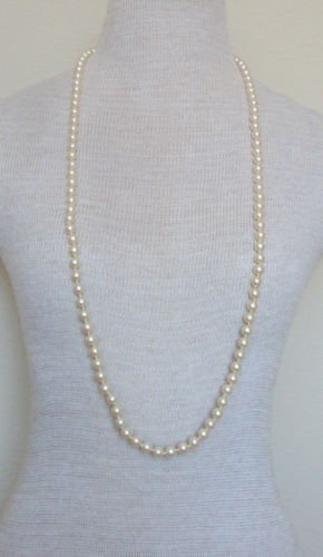 "Vintage Cream Glass Faux Pearl 37""Long Strand Necklace"
