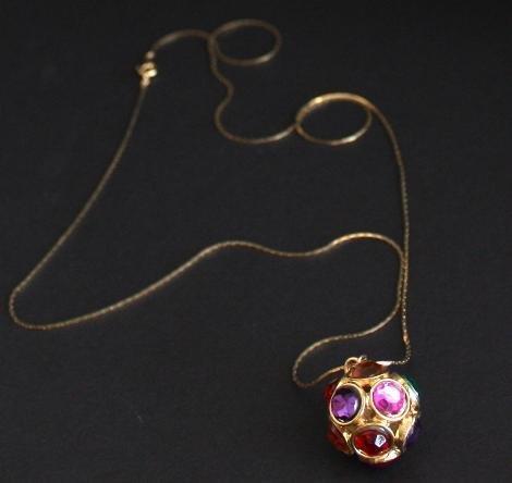 Vintage Red Purple Ball Rhinestone Pendant /Necklace