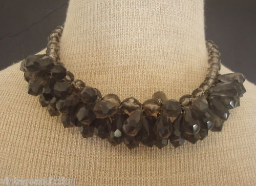 Vintage Chunky Gray Faceted Lucite Necklace