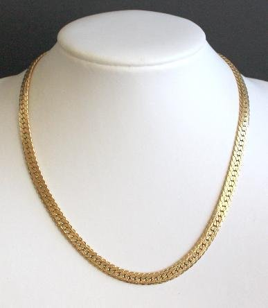 Vintage Gold Tone Wide Chain Necklace