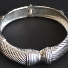Vintage Silver Tone Hinged Clamper Bracelet