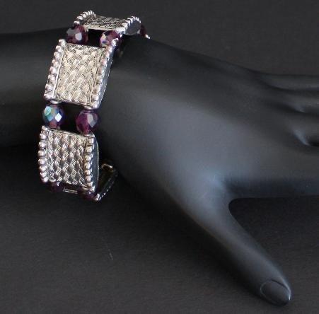 Vintage Purple Aurora Borealis Stretchable Bracelet