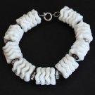 Vintage White Disks Rhinestones Bracelet Cute!