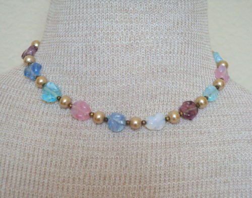 Vintage Pink & Blue Molded Glass Necklace 1960s