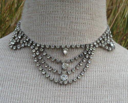 Vintage Antique Deco Rhinestone Necklace Sparkling