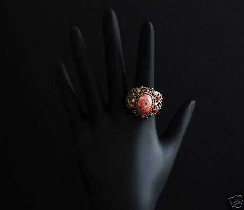Vintage Deco Chunky Orange Stone Cocktail Ring Size 6.5