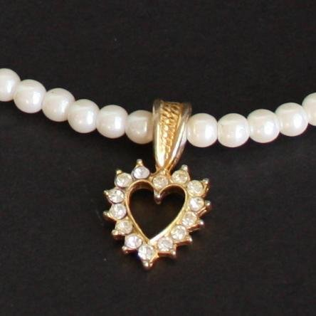Vintage White F Pearl Rhinestone Heart Necklace/Pendant