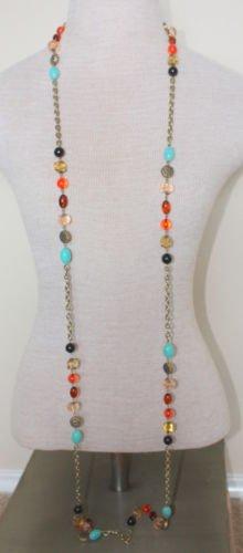 "Vintage Multi Color Beads 70"" Long Chain Necklace"