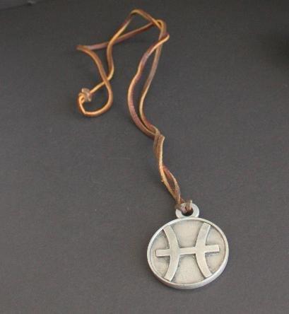 Unique Vintage Pewter Zodiac Necklace Leather Pendant
