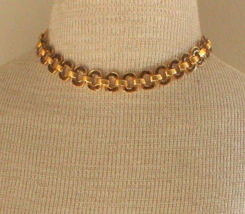 Vintage Gold Tone Enamel Chain Choker Necklace