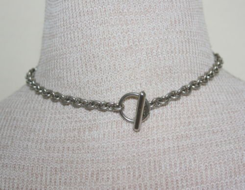 Vintage Silver Chain W/Toggle Closure Choker Necklace