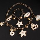 Vintage Sea Life Design Necklace Bracelet Set Cute !