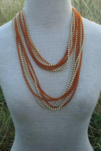 "Vintage Brown Amber 3 mm 45"" Long Multistrand Necklace"