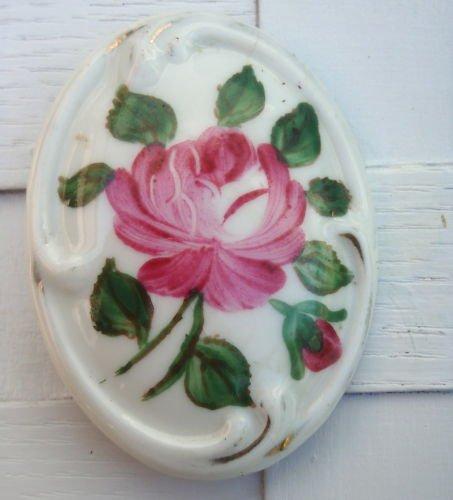 Vintage Art Deco Porcelain Flower Cameo Pin / Brooch