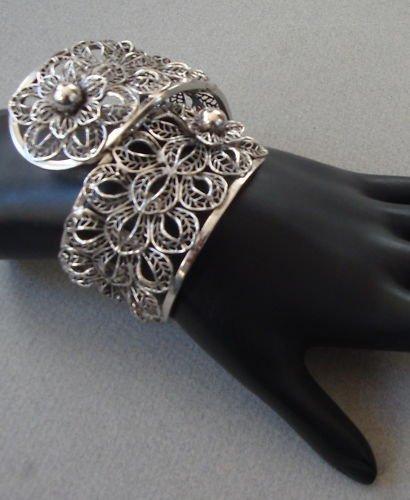 Vintage Chunky Chrome Filligree Hinged Clamper Bracelet
