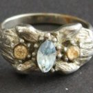 Vintage Vogue Sterling  Blue Topaz Ring Adjustable