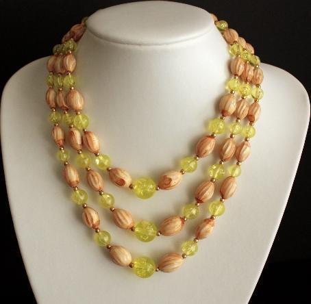 Vintage Green Multi Strands Beaded Necklace