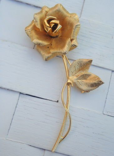 Vintage Golden Rose Pin Brooch