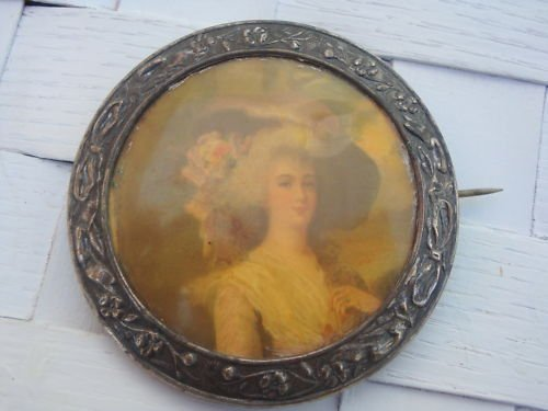 Vintage Victorian Beautiful Lady C Clasp Pin Brooch