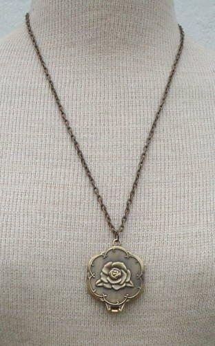 VTG Victorian Revival Locket Mirror Pendant Necklace