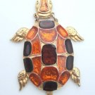 Vintage Chunky Turtle Glass Pendant Necklace Boho 70s