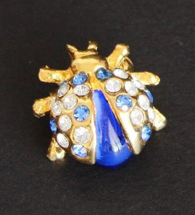 Vintage Lady Bug Blue Rhinestone Pin/Brooch