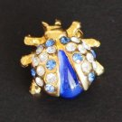 Vintage Lady Bug Blue Rhinestone Pin/Brooch